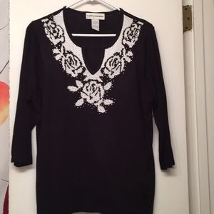 Cathy Daniels Black and White Sweater Size Large